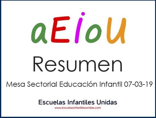 Resumen Mesa Sectorial Educación Infantil 07-03-2019